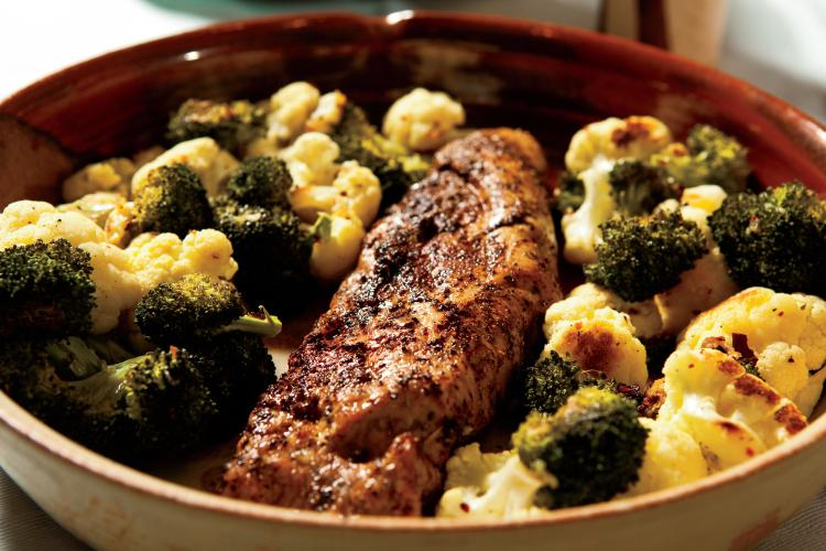 Pork tenderloin and roasted cauliflower and broccoli