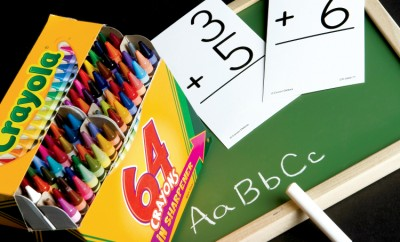Crayons, chalk and paper, along with other school supplies, all come from farms.
