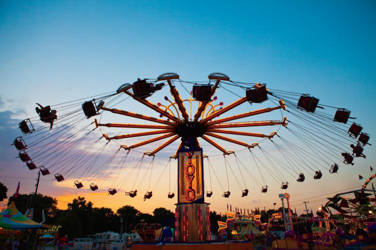 Rides at the Indiana State Fair in Indianapolis