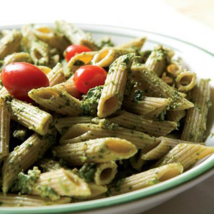 Spinach-Arugula-Walnut Pesto over Whole-Wheat Penne
