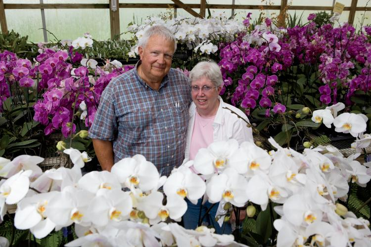 Dick and Sandy Wells of Hilltop Orchids in Cloverdale Indiana