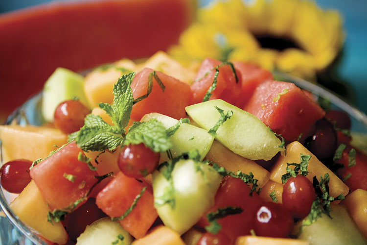 Fresh Fruit With Honey-Lime-Mint Dressing Recipe