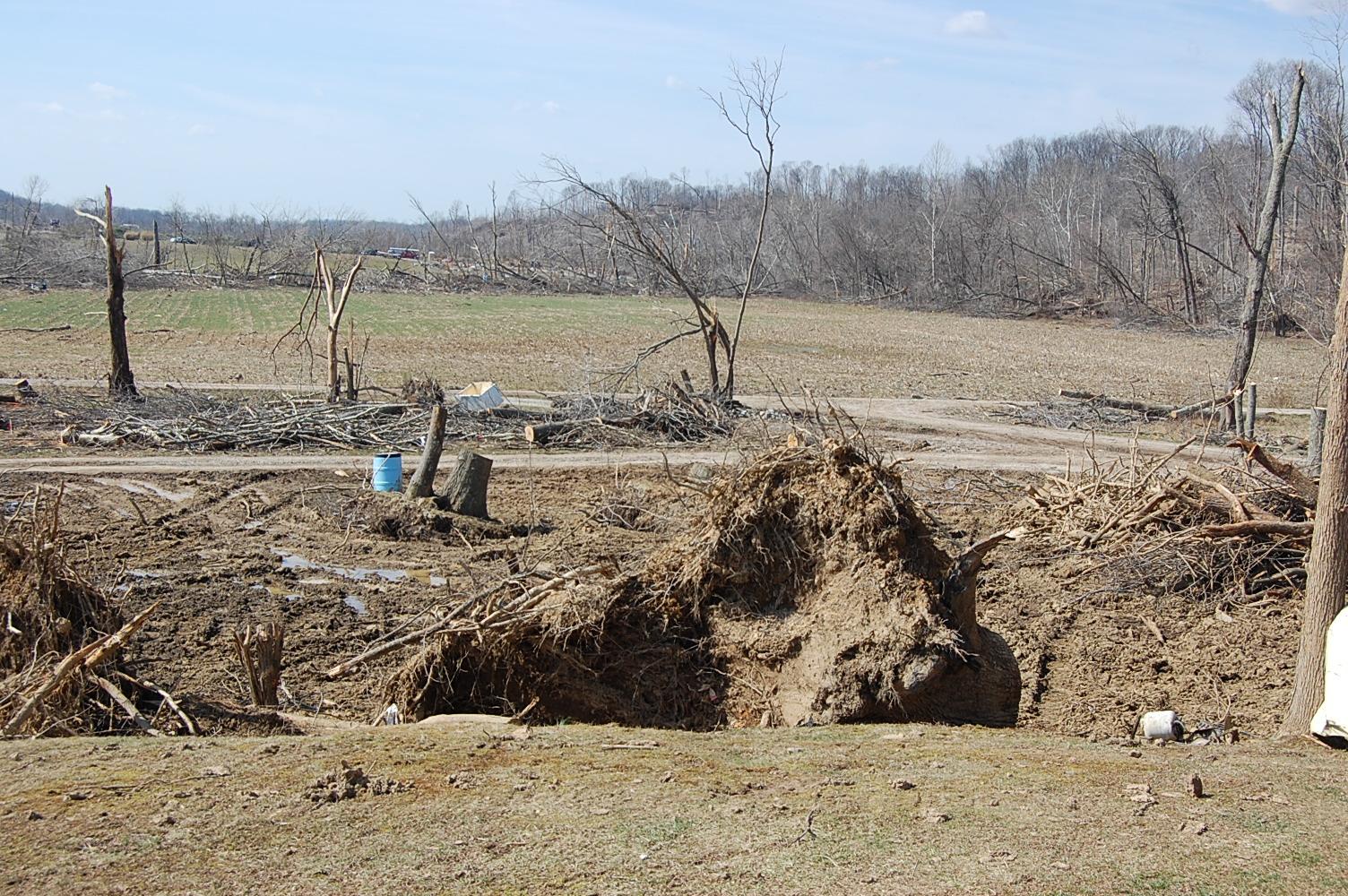 Tornado damage in Henryville, Indiana