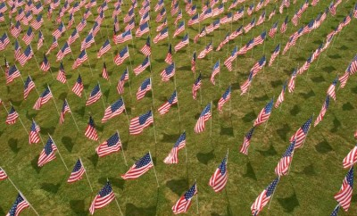 Honoring veterans with American flags