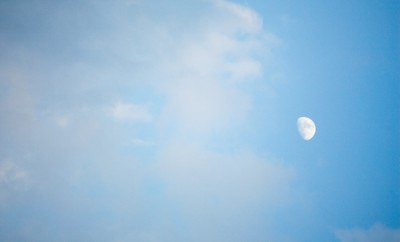Waning moon in the blue sky helps you garden.