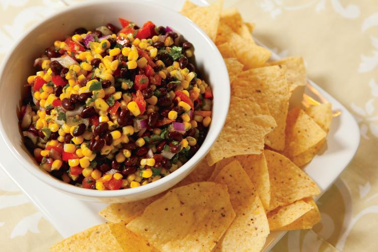 Zesty Corn and Black Bean Salsa with Lime Cilantro Dressing
