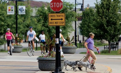 The B-Line Trail bike trail in downtown Bloomington, IN