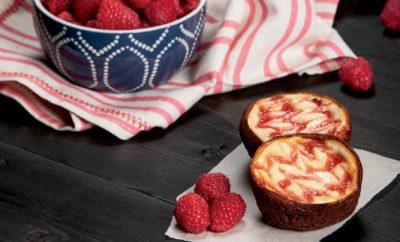 Raspberry Cheesecake Muffin Tin Brownies